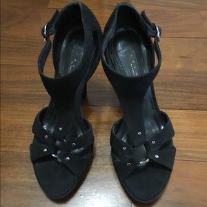 Laundry black suede sandals